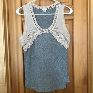 J Crew gray/blush tank with lace detail